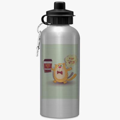 Спортивная бутылка/фляжка Кот, кофе и фраза Доброе утро!