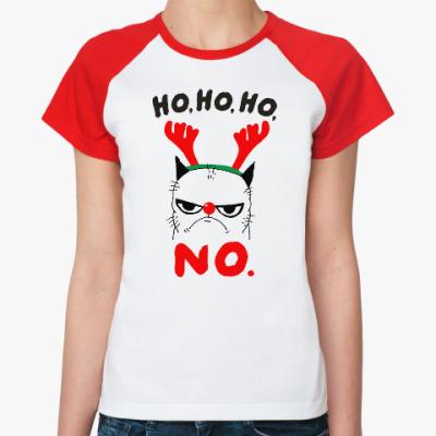 Женская футболка реглан Happy New Year Grumpy Cat
