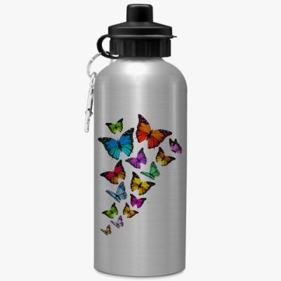 Спортивная бутылка/фляжка Бабочки