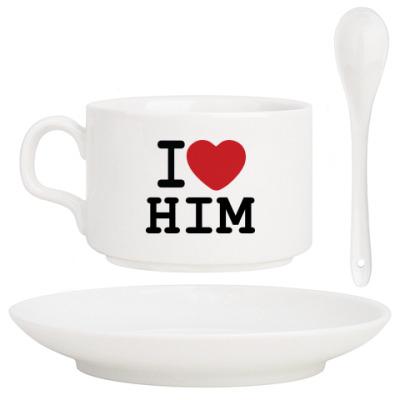 Кофейный набор Романтичный принт I LOVE HIM