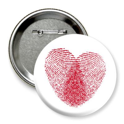 Значок 75мм Отпечатки Любви