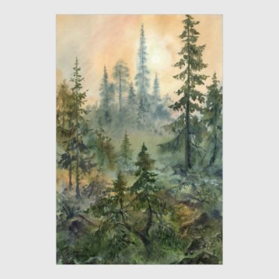 Постер Туманный рассвет (акварельный пейзаж)
