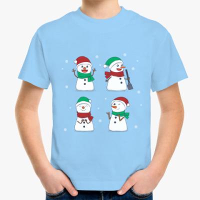 Детская футболка Новогодние снеговики