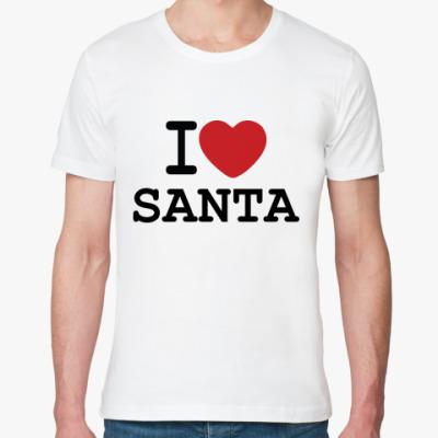 Футболка из органик-хлопка Новогодний принт I Love Santa
