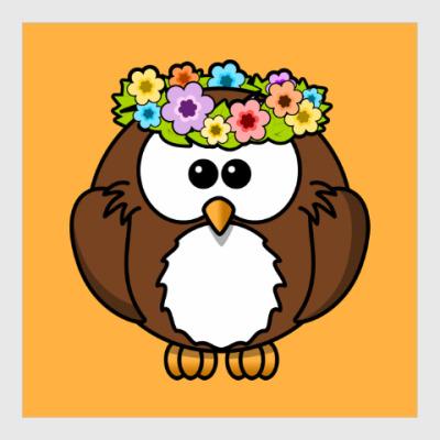 Постер Сова с цветами