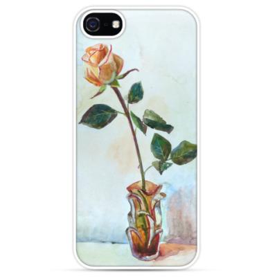 Чехол для iPhone Роза, акварель