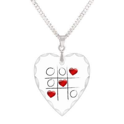 Кулон 'сердце' Любовные крестики - нолики