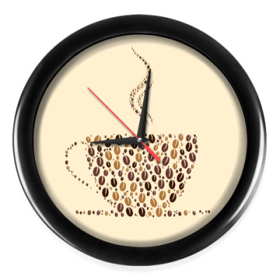 Настенные часы Кофе из кофейных зерен