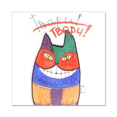 Наклейка (стикер) Яркий кот