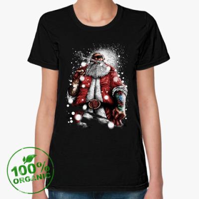Женская футболка из органик-хлопка Четкий Санта Клаус с подарком
