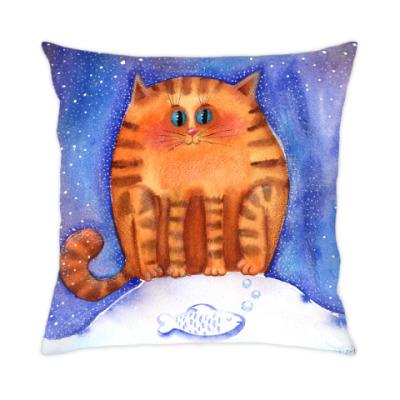 Подушка Рыжий акварельный кот