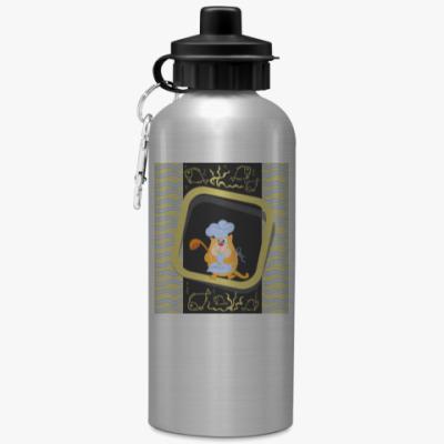 Спортивная бутылка/фляжка Кот-повар с ковшом и рыбой
