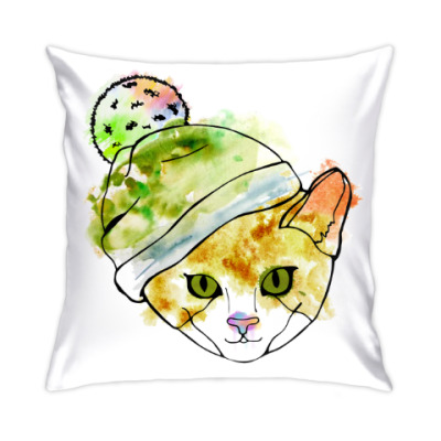 Подушка Кот в шапке