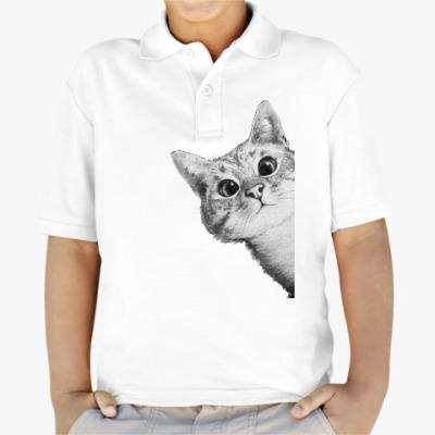 Детская рубашка поло Любопытный котик