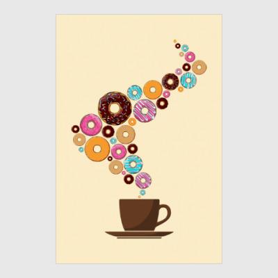 Постер Кофе с пончиками