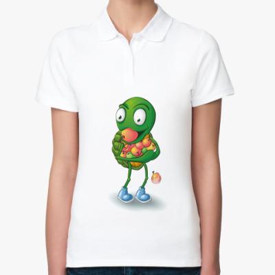 Женская рубашка поло Добрый Черепашонок с яблоками