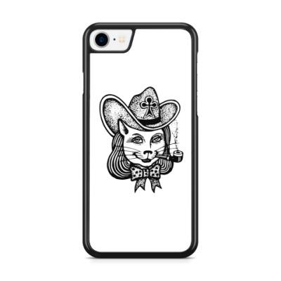 Чехол для iPhone Кошка в шляпе с трубкой