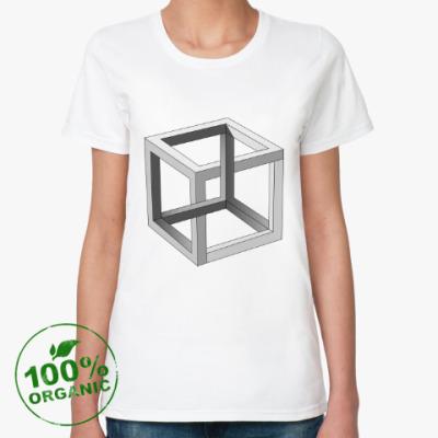Женская футболка из органик-хлопка Невозможный Куб 3D