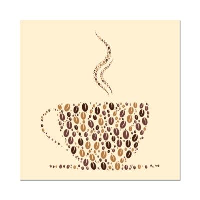 Наклейка (стикер) Кофе из кофейных зерен