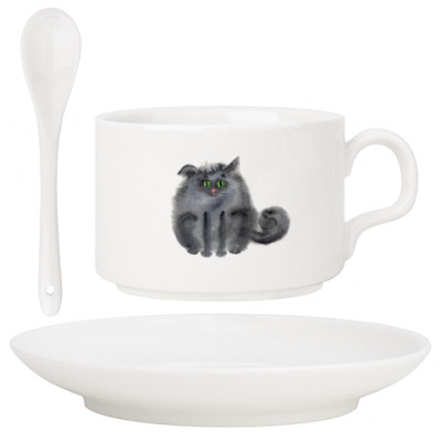 акварельные пушистые коты