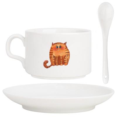 Кофейный набор акварельные пушистые коты
