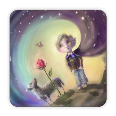 Костер (подставка под кружку) Маленький Принц в джинсах и небесном плаще.