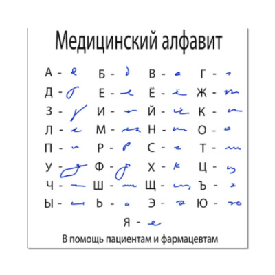 Наклейка (стикер) Медицинский алфавит