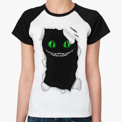 Женская футболка реглан  'Чеширский кот'