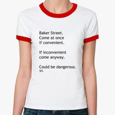 Женская футболка Ringer-T СМС Шерлок