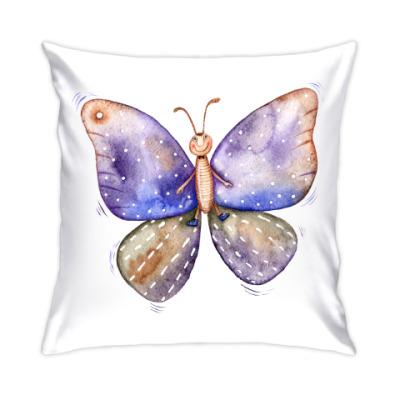 Подушка Смешная акварельная бабочка