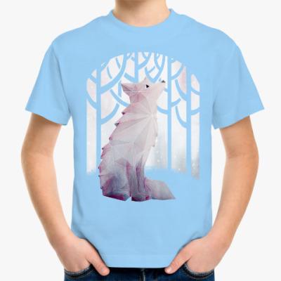 Детская футболка Зимний Лис в снегу Winter fox