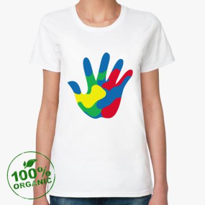 Женская футболка из органик-хлопка Отпечаток Руки