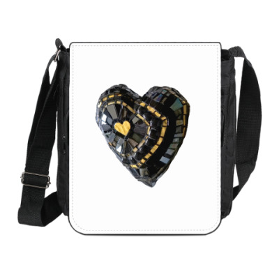 Сумка на плечо (мини-планшет) Мозаика Чёрное сердце