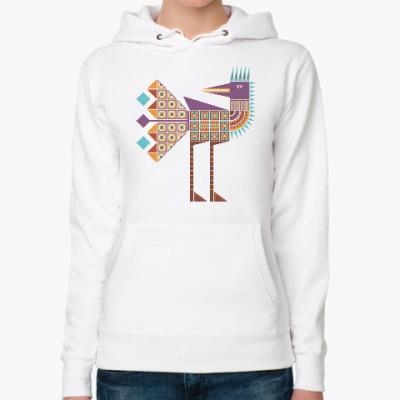 Женская толстовка худи Птица геометрическая разноцветная