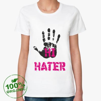 Женская футболка из органик-хлопка HI HATER / BYE HATER