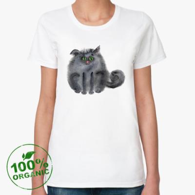 Женская футболка из органик-хлопка акварельный кот
