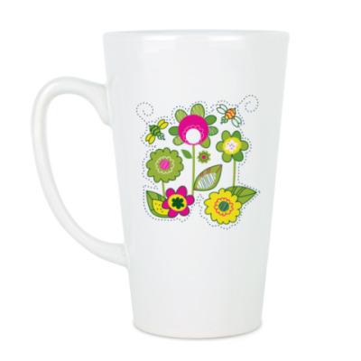 Чашка Латте Солнечные цветы и пчелы