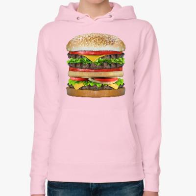 Женская толстовка худи Вкусняшка гамбургер