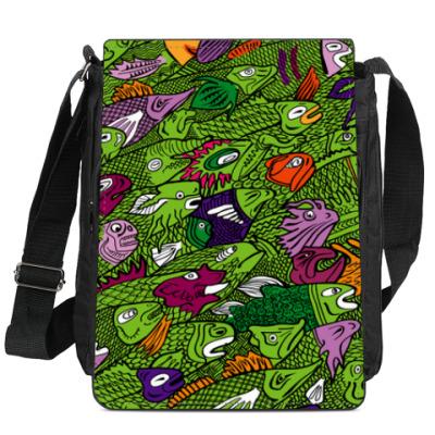 Сумка-планшет фантастические рыбы