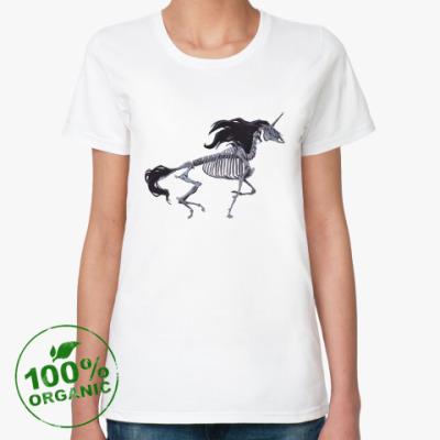 Женская футболка из органик-хлопка Скелет Единорога