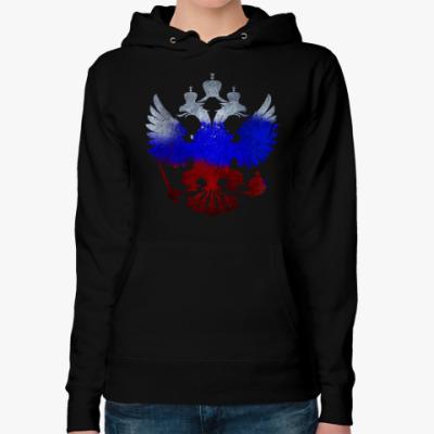 Женская толстовка худи Герб РФ (триколор)