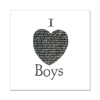 Наклейка (стикер)  I Love Boys