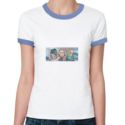 Женская футболка Ringer-T Не вижу не слышу не скажу