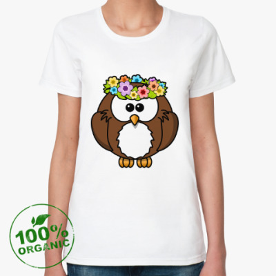 Женская футболка из органик-хлопка Сова с цветами