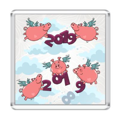 Магнит Новогодние Свинки 2019