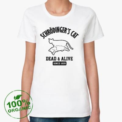 Женская футболка из органик-хлопка Кот Шрёдингера