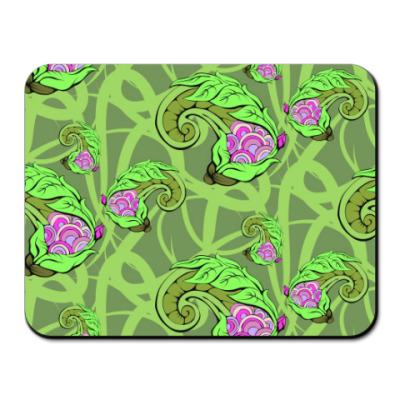 Коврик для мыши зеленый растительный цветочный фон