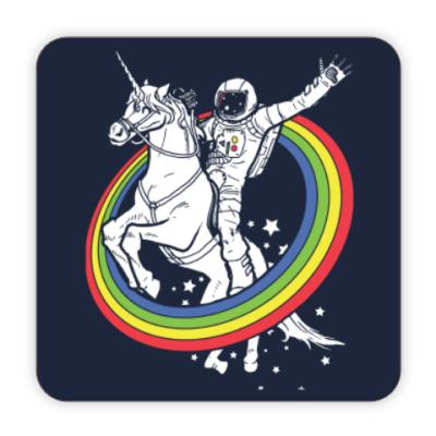 Костер (подставка под кружку) Космонавт на единороге