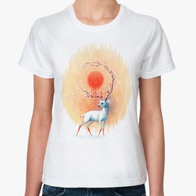 Классическая футболка Дух весны белый олень