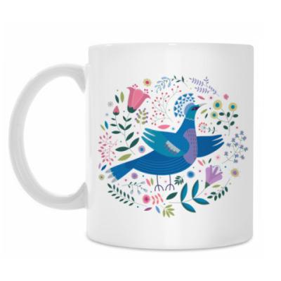 Кружка Венценосный голубь среди цветов